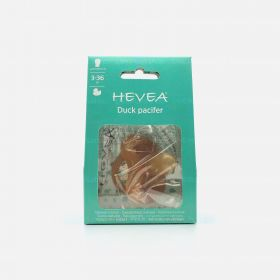 Hevea Duck Symmetrical Natural Rubber Pacifier, 3-36 Months
