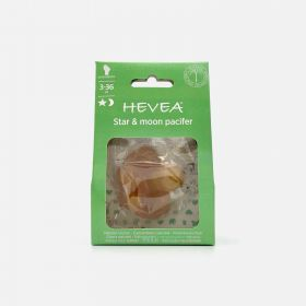 Hevea Star & Moon Orthodontic Natural Rubber Pacifier, 3-36 Months