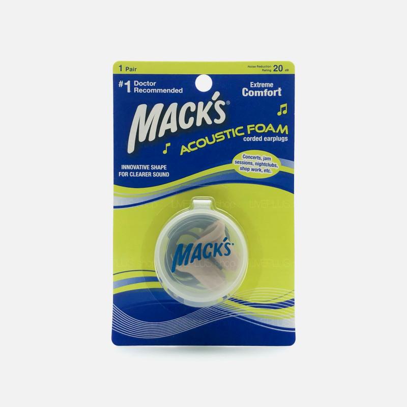 Mack's Acoustic Foam Earplugs Corded