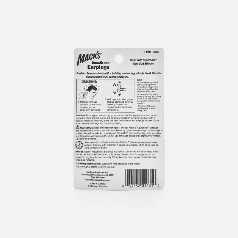 Mack's AquaBlock Earplugs, 1 Pair, Clear