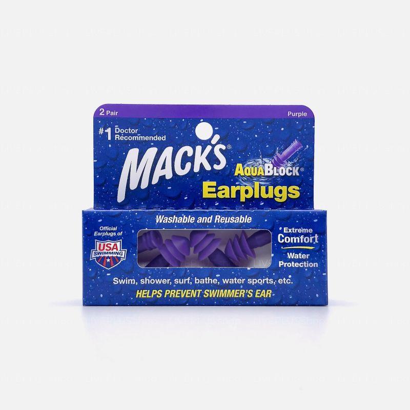 Mack's AquaBlock Earplugs, 2 Pair, Purple
