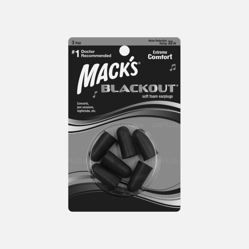 Mack's BLACKOUT Soft Foam Earplugs, 3 Pair