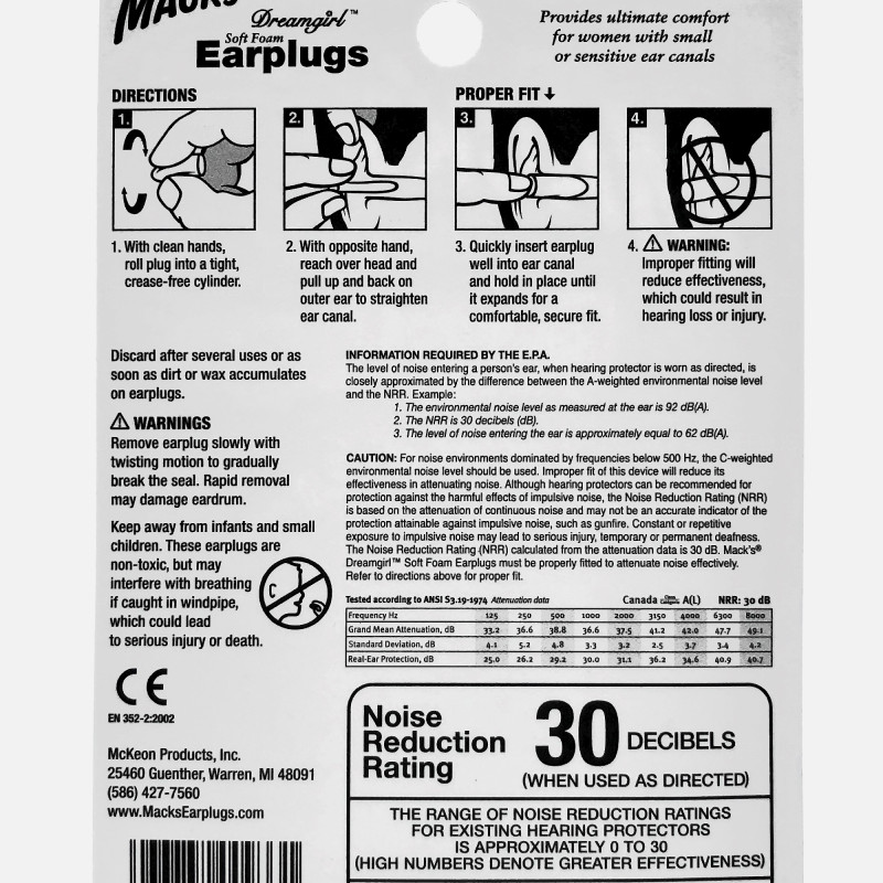 Mack's Dreamgirl Soft Foam Earplugs, 3 Pair