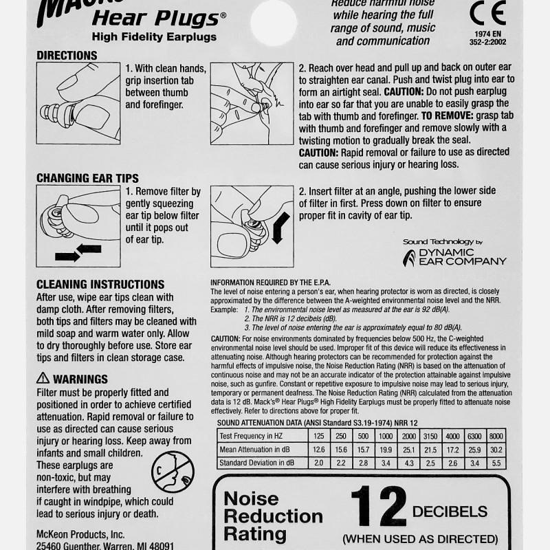 Mack's Hear Plugs High Fidelity Earplugs