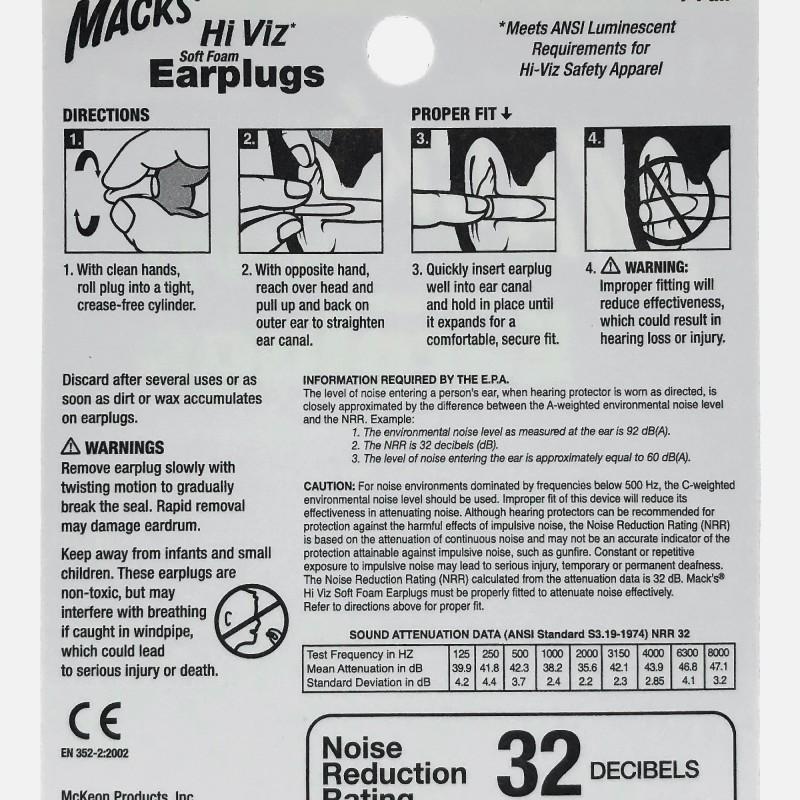 Mack's Hi Viz* Soft Foam Earplugs, 7 Pair