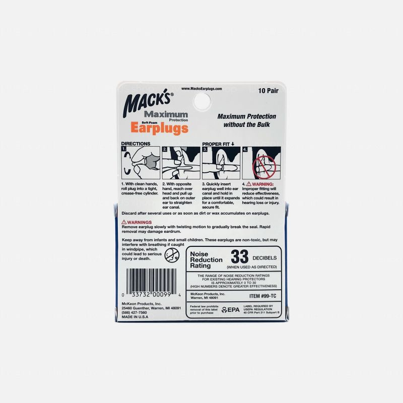 Mack's Maximum Protection Soft Foam Earplugs, 10 Pair