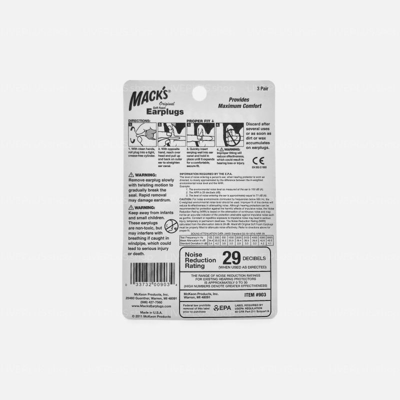 Mack's Original Soft Foam Earplugs, 3 Pair