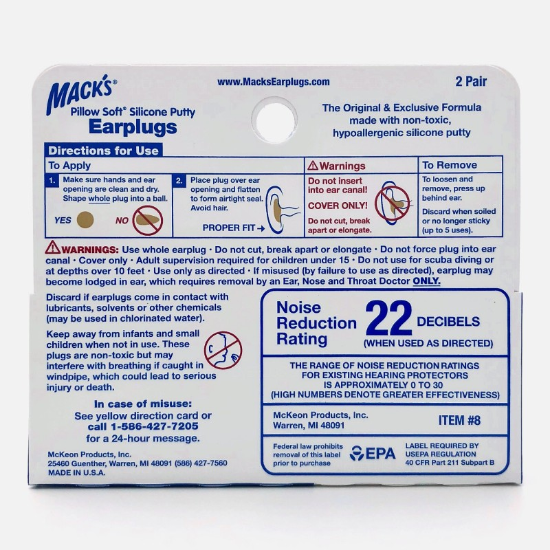 Mack's Pillow Soft Silicone Putty Earplugs, 2 Pair, Beige