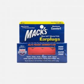 Mack's Pillow Soft Silicone Putty Earplugs, 2 Pair, Orange