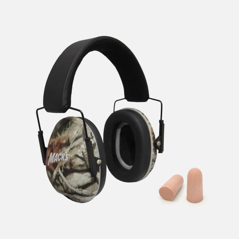 Mack's Shooters Double-Up Ultimate Hearing Protection System (Earmuffs + Earplugs), Camouflage