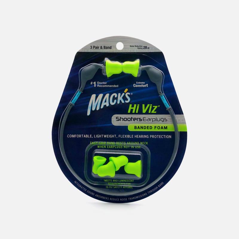 Mack's Shooters Hi Viz* Banded Foam Earplugs, 3 Pair & Band