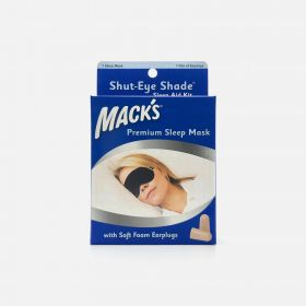 Mack's Shut-Eye Shade Premium Sleep Mask with Soft Foam Earplugs