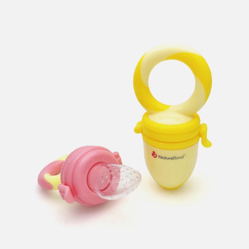 NatureBond Baby Fruit Feeder, Peach Pink & Lemonade Yellow