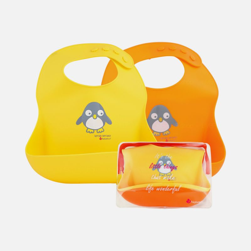 NatureBond Silicone Waterproof Baby Bibs, 2 Pack
