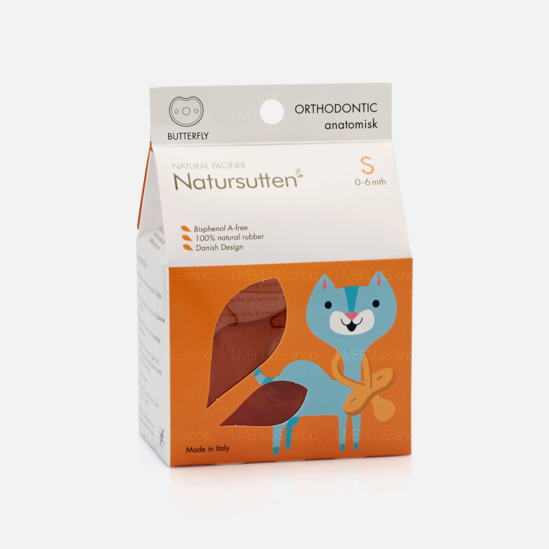 Natursutten Butterfly Orthodontic Natural Pacifier, S (0-6 Months)