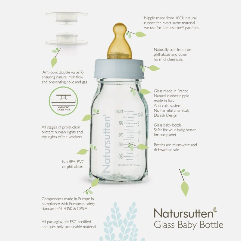 Natursutten Glass Baby Bottle 110 ml, 2 Pack