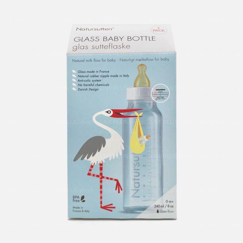 Natursutten Glass Baby Bottle 240 ml, 2 Pack