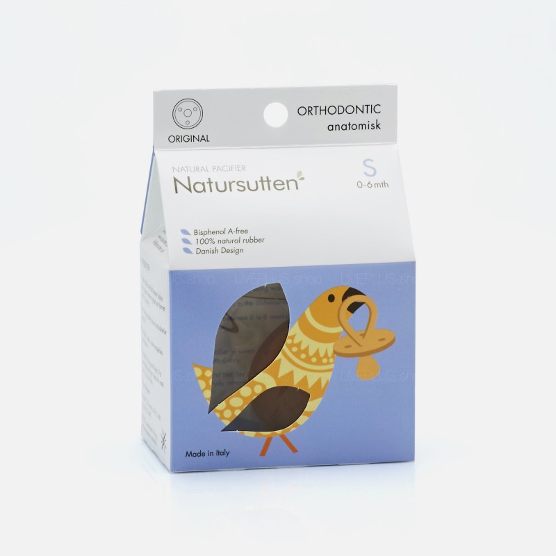 Natursutten Original Orthodontic Natural Pacifier, S (0-6 Months)